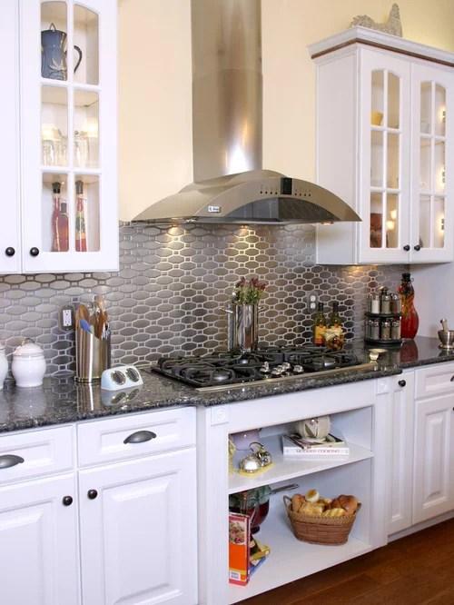 glass front kitchen cabinets island bars stainless steel backsplash | houzz