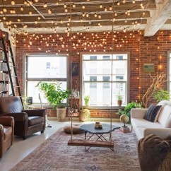 Houzz Modern Living Room Lighting French Country Ideas My Books And String Lights Cozy Up An L A Loft Industrial By Carolyn Reyes