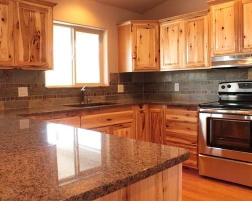 farmhouse kitchen lights countertop organizer knotty hickory cabinets | houzz
