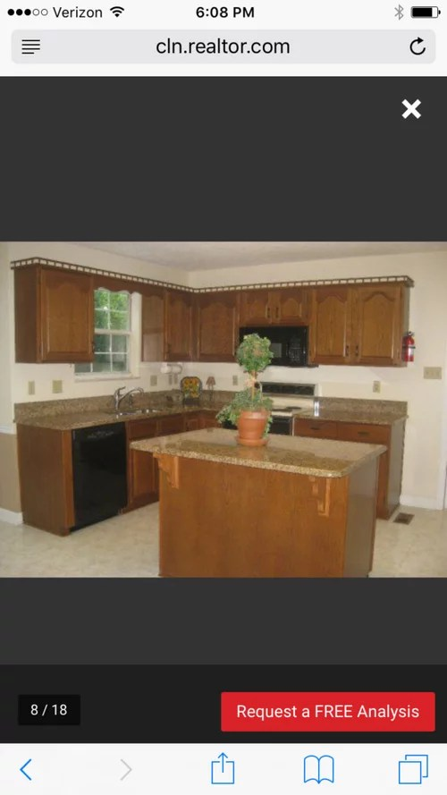 Colonial Oak Cabinet Kitchen With Brown Gold Granite
