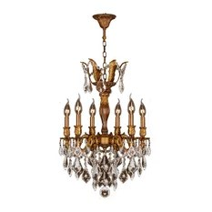 Crystal Lighting Palace French Imperial 6 Light Gold Finish And Clear Chandelier Medium