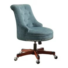turquoise office chair xbox one game 50 most popular chairs for 2019 houzz linon home decor products sinclair aqua dark walnut wood base