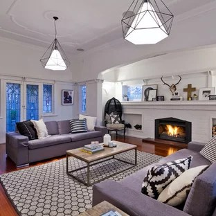 formal living room with brick fireplace best furniture placement for long narrow 75 most popular a surround design ideas transitional in perth white walls dark hardwood