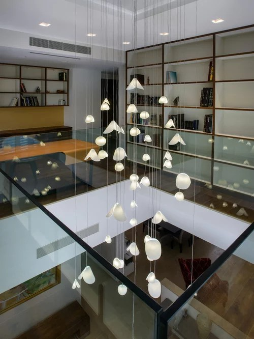 Extra Long Modern Pendant Lighting For High Ceiling Foyer Pearl Shell By Galile