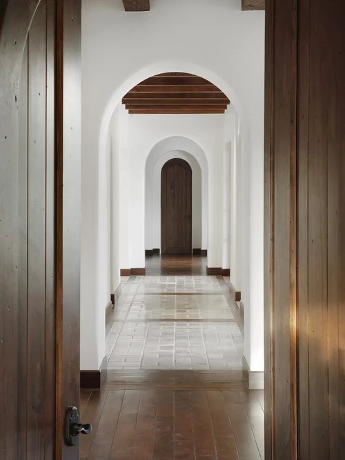dark walnut kitchen cabinets modern cabinet knobs wood tile transition | houzz