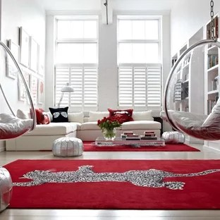 black and red living room decorating ideas cream photos houzz example of a trendy design in london with white walls