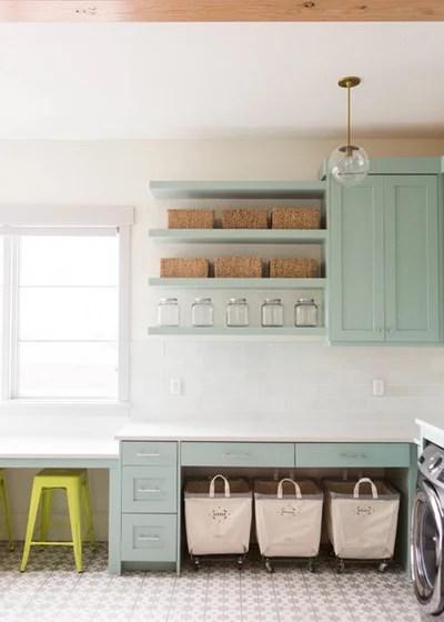 Transitional Laundry Room by Ashley Winn Design