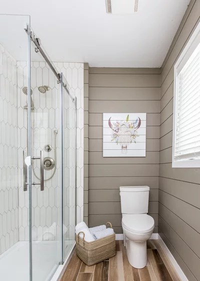 A New Take on Shiplap and Hexagon Tiles in the Bathroom