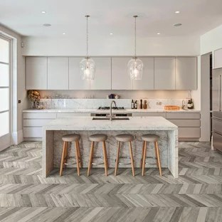 gray kitchen floor kraftmaid grey wood ideas photos houzz large contemporary remodeling inspiration for a galley dark and