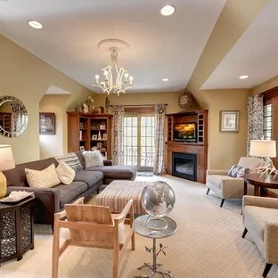 living room designs with corner fireplace yellow and grey furniture houzz arts crafts carpeted photo in minneapolis beige walls a