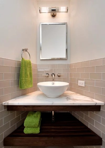 Contemporary Powder Room by Eighty-Eight Inc