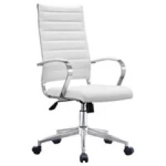 Bassett Ellis Executive Chair Healthy Desk Inspired By White With Chrome Ergonomic High Back Cushion Seat Office Ribbed Pu Leather