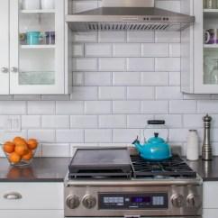 Craftsman Kitchen Backsplash Knife Sheaths Beveled Subway Tile | Houzz