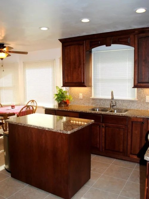 Traditional Kitchen Remodel With Cherry Cabinets And