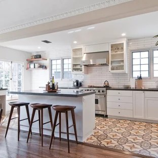wood tile floor kitchen lace curtains and combinations houzz mid sized transitional galley cement multicolored open concept photo in