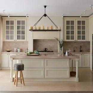 travertine kitchen backsplash purple appliances 75 most popular with design ideas for transitional eat in inspiration a l shaped floor