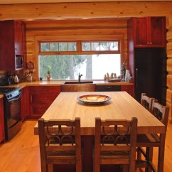 Yellow Pine Kitchen Cabinets Table For Two Log Homes Kitchens | Houzz