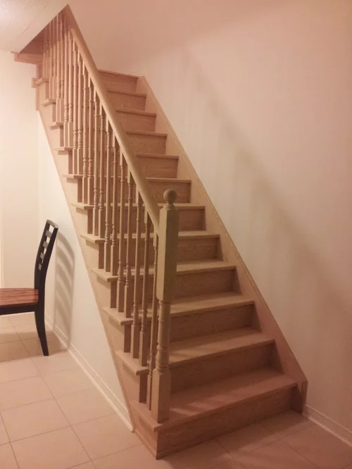 Stairs White Risers White Spindles Or Both   White And Wood Banister   Stairwell   Gray White   Contemporary   Classic Wood Stair   Colonial