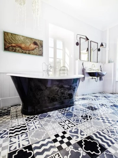 Patchwork Tiles Black and White Flooring Design in Monochrome Bathroom