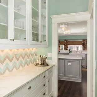 backsplash ideas for small kitchen best buy appliance package houzz transitional pantry single wall dark wood floor and brown
