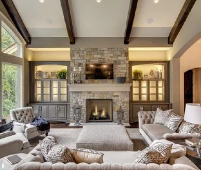 Inspiration For A Transitional Dark Wood Floor And Brown Floor Living Room Remodel In Minneapolis With