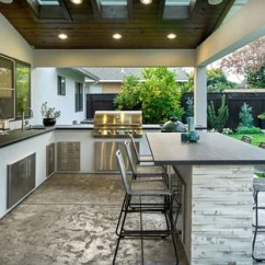 Patio Kitchen Blue Color Cabinets 75 Most Popular Contemporary Design Ideas For 2019 Example Of A Large Trendy Backyard Concrete In San Francisco With Roof