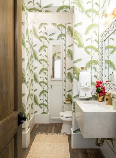 Tropical Powder Room by True Homes Photography