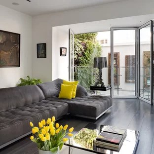 gray white and yellow living room ideas orange brown curtains grey photos houzz photo of a large contemporary formal enclosed in london with walls dark
