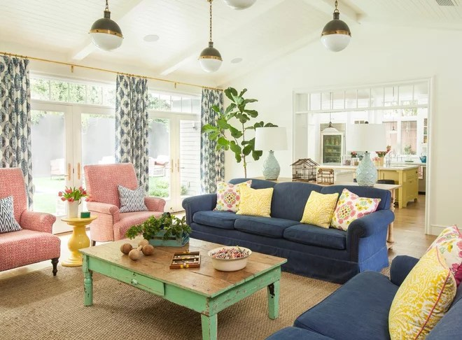 Farmhouse Family Room by Alison Kandler Interior Design