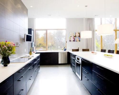 Dark Lower Cabinets Cream Upper Houzz