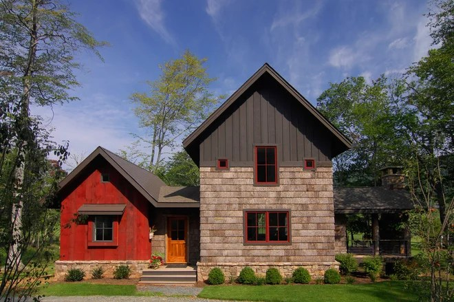 Rustic Exterior by Christopher Kellie Design Inc.