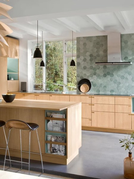 scandinavian kitchen tile designs Scandinavian Kitchen with Mosaic Tile Backsplash Design
