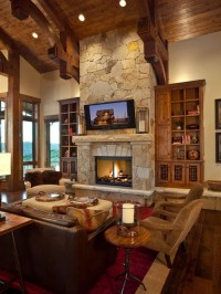 Stone Fireplace And Tv | Houzz