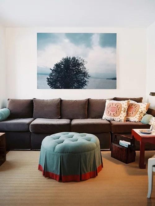 Casual Contemporary Brown Leather Sofa Aspen