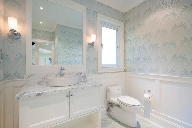 Transitional Powder Room by SGDI - Sarah Gallop Design Inc.