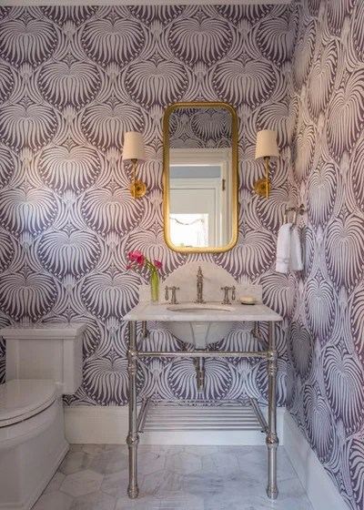 Eclectic Powder Room by MANDARINA STUDIO interior design