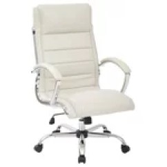 Bassett Ellis Executive Chair Blue Wingback Inspired By White With Chrome Work Smart Thick Padded Cream Faux Leather Seat And Back