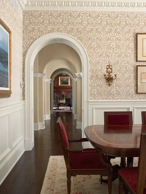 Wainscoting With Wallpaper Above Home Design Ideas