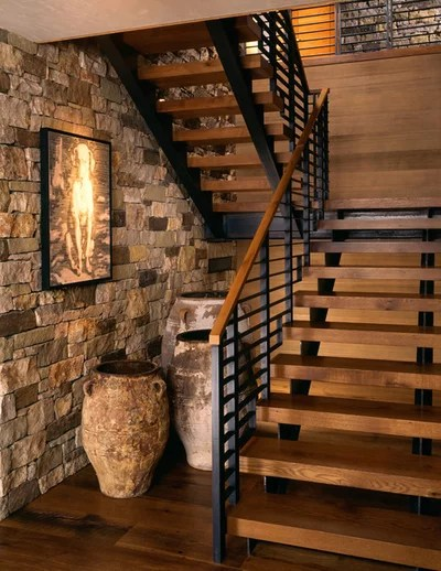 Rustic Staircase by Poss Architecture + Planning and Interior Design