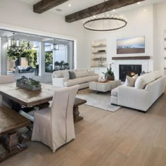 White Couches Living Room Modern Curtain Styles Sofa Houzz Example Of A Transitional Open Concept Medium Tone Wood Floor And Brown Design