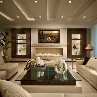contemporary sofa designs for living room leather restoration 75 most popular design ideas 2019 example of a trendy white floor in miami with ribbon fireplace and