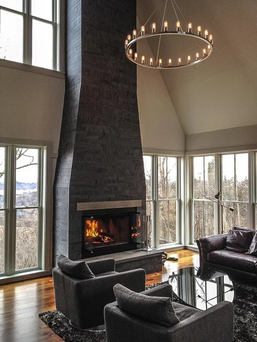 Clean Face 3 Sided Gas Fireplaces Home Design Ideas Dark Fireplace Ideas, Pictures, Remodel And Decor