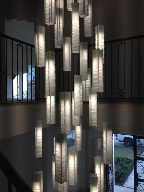 Custom Multi Pendant Chandelier High Ceiling Foyer By Galilee Lighting Chandeliers