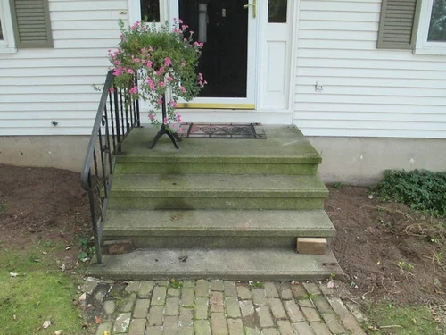 Covering A Concrete Stoop With Wood   Wood Over Concrete Steps   Building   Stair Stringers   Concrete Patio   Concrete Porch Makeover   Composite Decking