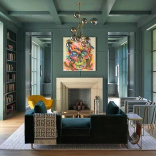 living room ideas with turquoise walls gloss white furniture 75 most popular design for 2019 library mid sized eclectic open concept medium tone wood floor and brown