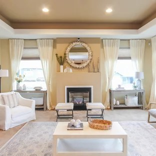 beach style decorating living room long design ideas 75 most popular for 2019 example of a large coastal open concept carpeted and beige floor in seattle