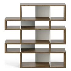 London 002 Composition Bookcase Walnut Frame Pure White Backs