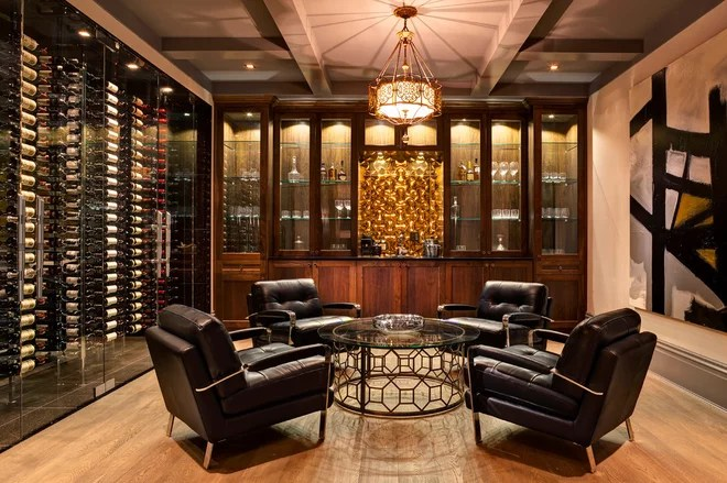 Transitional Wine Cellar by Tavan Group