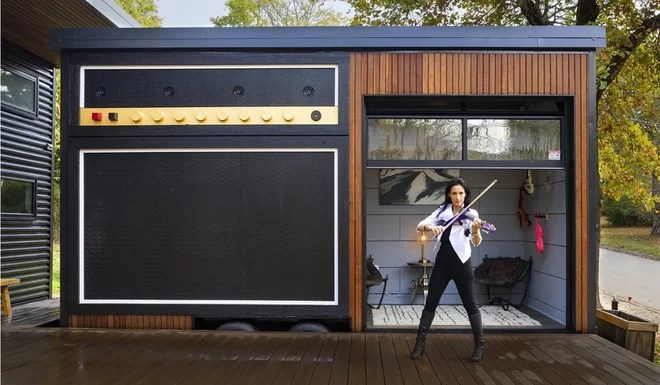 "Garage ""Amplified"" Tiny House Music Studio exterior"