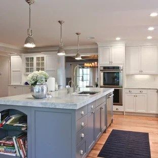 island kitchen ideas overhead lights 14 foot photos houzz traditional open concept inspiration for a timeless remodel in newark